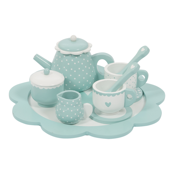 hout thee servies blauw